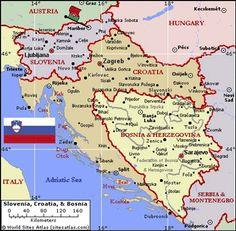 Eslovenia Croacia Y Bosnia Herzegovina Mapa Cartografia Geografia