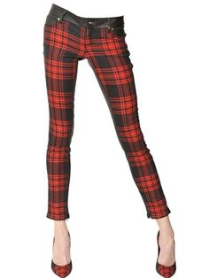 Fausto Puglisi Red Wool Tartan Nappa Leather Trousers, circa 1500,-€