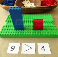 Playful learning with Lego math games. What a simple and fun way to learn math concepts lernen Math Classroom, Kindergarten Math, Teaching Math, Learning Activities, Kids Learning, Activities For Kids, Montessori Activities, Indoor Activities, Math Numbers