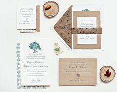 Wedding Invitation Ideas: Green and Kraft Woodgrain Modern Nature-Inspired Wedding Invitations by Suite Paperie via Oh So Beautiful Paper