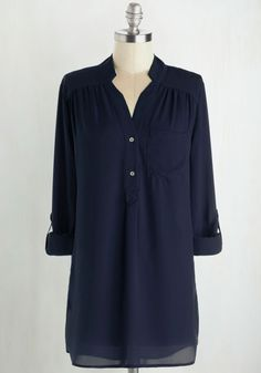 Pam Breeze-ly Tunic in Navy. The Pam Breeze-ly Top is back and better than ever! #blue #modcloth