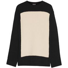 Loewe Two-tone wool sweater (€850) ❤ liked on Polyvore featuring tops, sweaters, cream sweater, wool sweater, graphic sweaters, graphic tops and woolen sweater