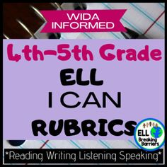 """These WIDA informed """"Can Do"""" rubrics help you track language acquisition for your language learners. In this resource, each domain is included, reading, writing, listening, and speaking.The levels are scaffolded and informed by WIDA can do descriptors and in kid-friendly language.Use this resource t... Teaching Materials, Teaching Resources, Language Acquisition, Special Education Teacher, Ell, 5th Grades, Rubrics, Teacher Newsletter, Track"""