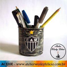Porta Lápis - Atelier Wesley Felício #Artesanato #Crafts #Handmade #Atlético #Galo #Futebol #Decoração #Arte #Escritório #School