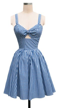 Trashy Diva Hottie Dress | retro inspired blue gingham plaid summer dress