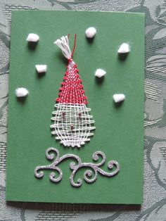 carte de voeux en dentelle aux fuseaux Pin Weaving, Bobbin Lace, Creations, Inspiration, Christmas, Ideas, Drawings, Christmas Balls, Tulips