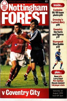 22 August 1998 v Nottingham Forest Lost Nottingham Forest Fc, Coventry City Fc, Football Program, Dublin, Lost, English, Club, Vintage, English Language