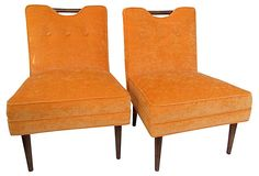 Orange Mid-Century Modern Chairs, Pair on OneKingsLane.com