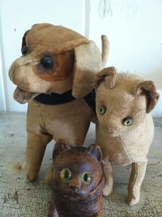 The early cloth kitty on the bottom makes me smile. Primitive Antiques, Vintage Dog, Old Dolls, Tin Toys, Soft Sculpture, Antique Toys, Doll Toys, Beer, Taxidermy