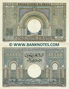 Morocco 50 Francs (1936-1949)  Front and back: Arched ornamental gateways. Watermark: Lion's head in profile. Predominant colour: Ecru. Artists: A. Maillart (Design); E. Gaspé and C. Beltrand (Engravers). Printer: Banque de France (BdF).