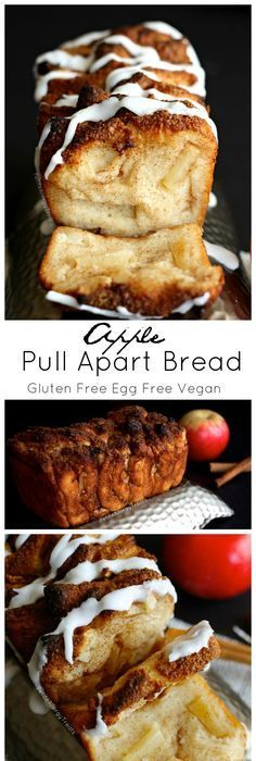 Vegan Meal Plan & Recipes for Beauty & Weight Loss, Includes Snacks. Dawn Ali - Apple Pull Apart Bread (gluten free dairy free egg free vegan)- Sweet and sticky slices of bread filled with warm cinnamon and apple! Dessert Sans Gluten, Gluten Free Sweets, Gluten Free Baking, Vegan Sweets, Vegan Desserts, Gluten Free Apple Cake, Plated Desserts, Gluten Free Homemade Bread, Vegan Muffins Gluten Free