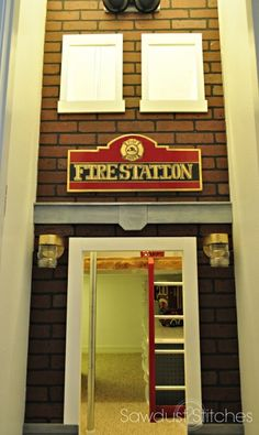 fire station  Playhouse under the stairs sawdust2stitches