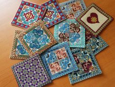 Coasters😍 Palestinian Embroidery, Hand Embroidery, Coasters, Projects To Try, Cross Stitch, Colours, Quilts, Blanket, Palestine