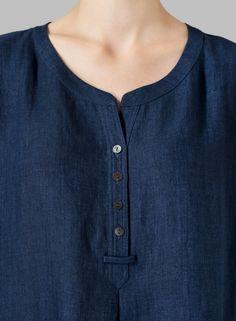 Linen Split Neck Long Tunics