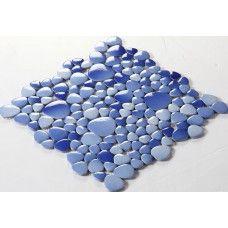 ceramic mosaic tile backsplash cheap pebbles blue sky glazed tiles sheet wholesale porcelain pebble tile designs FS1701 bath wall swimming pool flooring