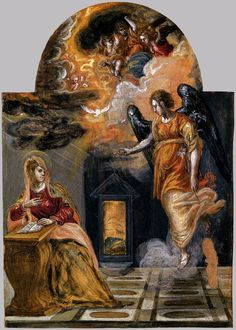 El GRECO -  Annunciation 1568 Tempera on panel, 24 x 18 cm Galleria Estense, Modena