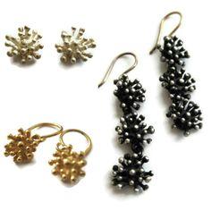 Small Silver Studs Flower Stud Earrings Starburst by SHERIBERYL