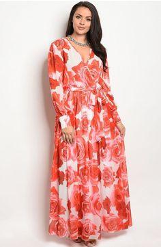 5c4e646c233 Plus Size Long Sleeve Floral Print Maxi