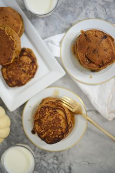 Emily Schuman of Cupcakes & Cashmere's pumpkin pancakes with chocolate chips