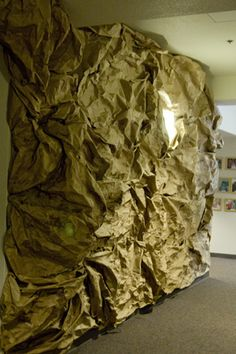 How to Make Rock Walls - use white paper/blue and gray paint to make it an arctic ice cavern.