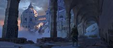 Ice Road by Rytis Sabaliauskas : ImaginaryLandscapes Fantasy Castle, Medieval Fantasy, Environment Concept Art, Environment Design, Fantasy World, Fantasy Art, Fantasy Places, Dark Fantasy, Masters