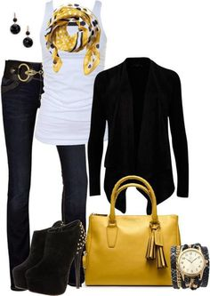 ,my blue jeans , my sparkly white tank top, my black jacket ( have one short sleeves and one long sleeves to wear this look in different seasons) my black belt, my black mini boots and one of my color purses and  matching scarf - love it