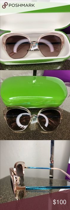 63595f800e4 Kate spade abinaya Sunglasses New with tags 100% authentic Kate Spade Color  is Pink gold