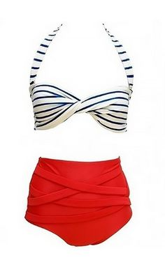 Retro high-waisted swimsuit with a halter neck and a flattering high waist