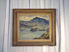tableaux peint sur carton bélier ,paysage de montagne ,signature . XX siècle .