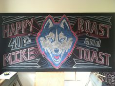 Mike's Roast & Toast 4ft x 8ft welcome chalkboard designed by Andrea Casey www.andreacasey.com