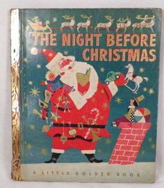 The Night Before Christmas Little Golden Book 1949 2nd Cover B Edition Santa WOW