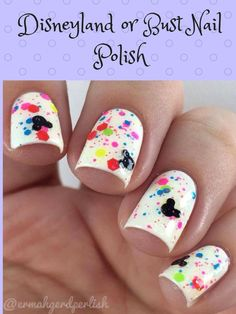 Disneyland or Bust Nail Polish:mix of neon glitter, rainbow shimmer and black Mickey Heads in a clear nail polish for use as a topper. #affiliatelink