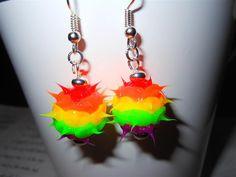 Rainbow rubber spike earrings  rubber spiky di FantasticFrippery, $6.00