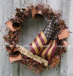 Patriotic Wreath, Americana Wreath, Fourth of July Decor, Liberty Bell, Primitive, Designer, Tea Stained Flag Wreath