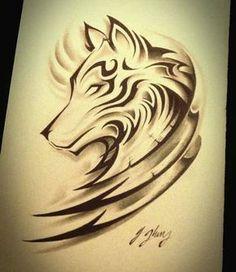 Wolf tattoo design with tribal Tatoo Art, Body Art Tattoos, Tattoo Drawings, Tribal Tattoos, Sleeve Tattoos, Cool Tattoos, Symbols Tattoos, Forearm Tattoos, Tattoo Neck