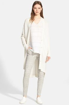 Wool Cashmere Directional Rib Open Front Cardigan | Knitwear ...
