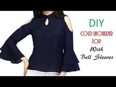 DIY Cold Shoulder Top With Bell Sleeves Cutting And Stitching Tutorial Sewing Clothes Women, Diy Clothes, Clothes For Women, Stitching Dresses, Dress Websites, Fancy Tops, Sewing Shirts, Indian Designer Outfits, Stylish Tops