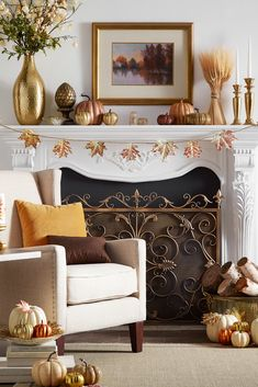 Henry Wingback Nailhead Chair by iNSPIRE Q Classic – Farmhouse Fireplace Mantels Farmhouse Fireplace Mantels, Rustic Mantle, Fireplaces, Fireplace Mantle, Farmhouse Decor, Halloween Fireplace, Fall Mantel Decorations, Mantle Ideas, Thanksgiving Decorations