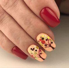 Fall nail art tree