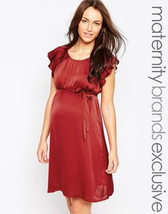 Mamalicious+Woven+Dress+With+Flutter+Sleeves+And+Waist+Tie