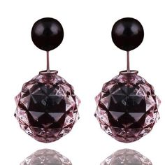 14 Colors New Arrival Luxurious Double Ball Earrings Transparent Geome – ROSalarsJewelry