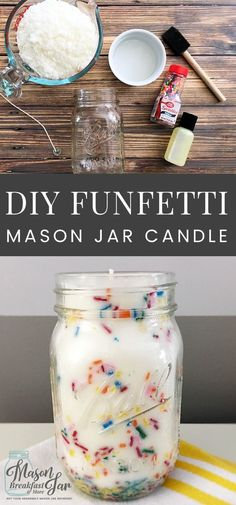 DIY Funfetti Soy Mason Jar Candles make fun centerpieces for birthday parties, easy homemade gift ideas, pretty home décor accessories, and delicious smelling air fresheners. You can whip up these Mason jar soy candles in minutes (not counting the time it takes for the wax to harden). Feel free to customize these homemade Mason jar candles with different color sprinkles and/or your favorite scents.