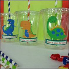 12 Personalized Dinosaur Themed Party Cups with Lids and
