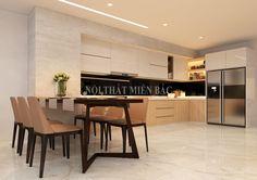 Phòng bếp mang sắc thái ấm cúng, sâu lắng và thư thái