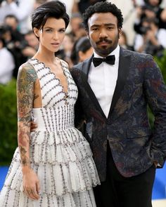 Ruby Rose, stunned at Monday's Met Gala in New York, in a plunging white frock with frill detailing. Ruby Rose Hair, White Frock, Donald Glover, Danny Glover, Australian Models, Girl Crushes, Hair Inspiration, My Hair, Beautiful People