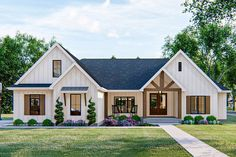 Enjoy one-level living in this 4-bed New American house plan. The exterior board and batten siding is accented with wood beams and metal roof accents. The exterior also includes a lovely front covered porch with a cathedral ceiling. Inside the front door you are greeted with a beautiful entryway with exposed wood beams. To the left of the entry is a formal dining room that is perfect for entertaining guests. The great room lies under a soaring cathedral ceiling and is warmed by a fireplace flank Br House, Story House, House Floor, Cottage House, Open House, Casas The Sims 4, American Houses, Modern Farmhouse Exterior, Craftsman Farmhouse