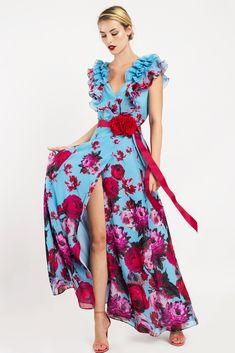 Vestido largo cruzado de fiesta con estampado de flores y detalle de volantes en hombros. One Piece Dress, Pretty Dresses, Wrap Dress, Prom Dresses, Poses, Alba, Outfits, Clothes, Accessories