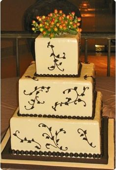 Fall Brown Ivory Square Wedding Cakes Photos & Pictures - WeddingWire.com