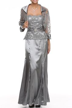 A Line/Princess Strapless Sweetheart Neckline Floor Length Mother Of The Bride Evening Long Prom Dress With Ruffle Lace And Matching Jacket
