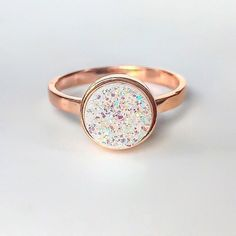 Rose Gold with Druzy Quartz Ring | Bohemian Jewellery | Indie and Harper